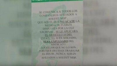 Gremio sancionará a trabajadores marplatenses que no adhieran al paro