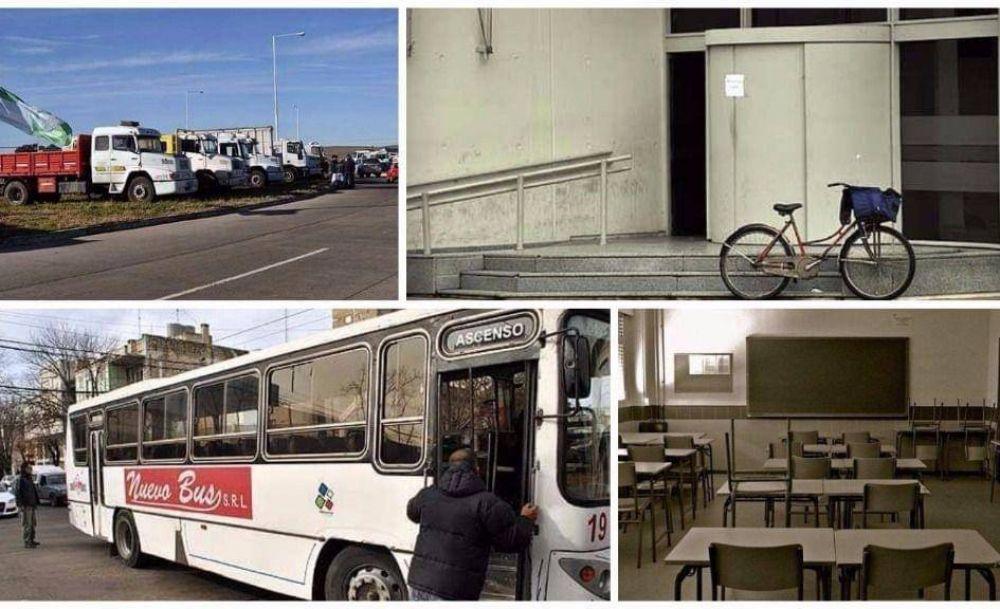 Jornada de paro en Olavarría: diversos sectores adheridos