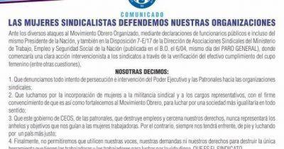 """La corriente de mujeres sindicalistas rechazó el intento """"intervencionista"""" de Triaca en los gremios"""