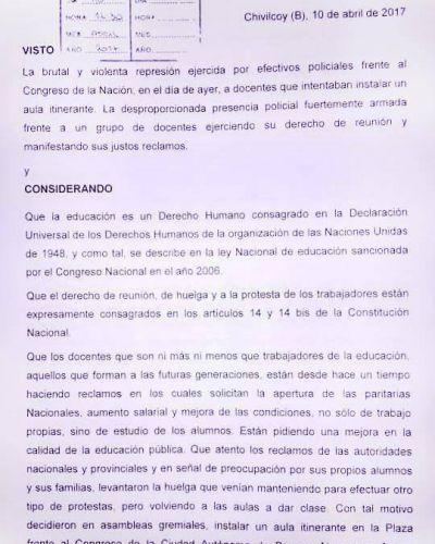 Comunicado de prensa del Interbloque de Concejales y Concejalas
