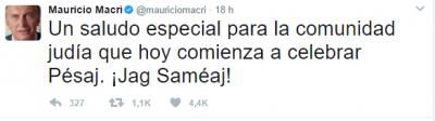 """Mauricio Macri le deseó """"Jag Sameaj"""" a la comunidad judía por el inicio de Pesaj"""