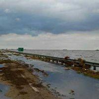 El agua creció unos 25 centímetros sobre la Ruta 7, a la altura de La Picasa