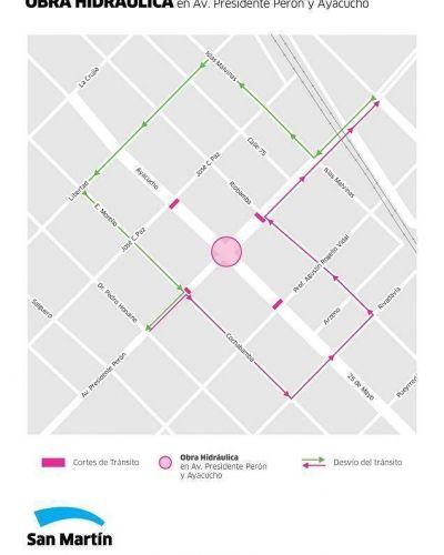 Por el inicio de obras, a partir del lunes estará cortado el tránsito en Ayacucho y Av. Perón