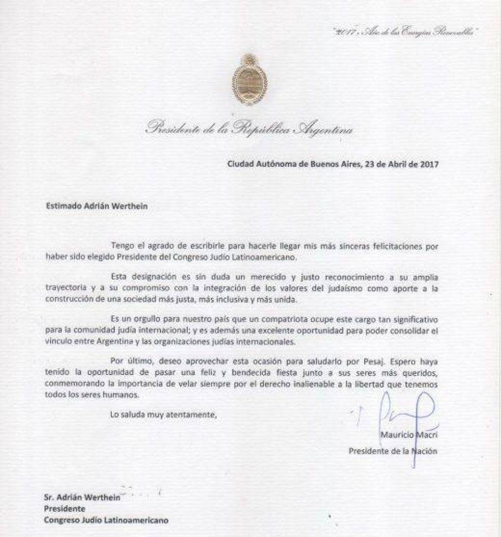 Mauricio Macri felicitó a Adrian Werthein como nuevo presidente del Congreso Judío Latinoamericano