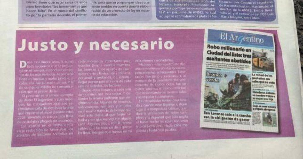 Cerró el diario El Argentino