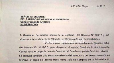 Asesoría de Gobierno dictaminó que fue legal la separación del Jefe de Compras comunal