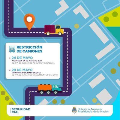 Restricción de camiones por el 25 de Mayo