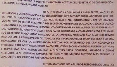 Le piden la renuncia al secretario de Organización de la UOCRA