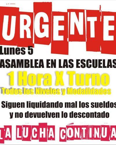 Agmer Paraná realizará asambleas de una hora por turno el lunes