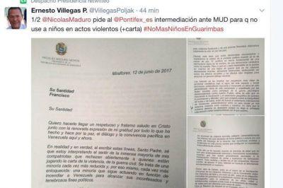 Venezuela: Maduro escribe al Papa pidiendo la mediación de la Iglesia con la oposición