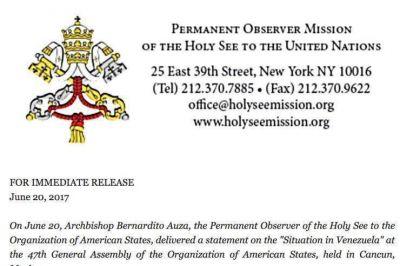 La Santa Sede y el Papa reiteran ante la OEA su posición sobre Venezuela