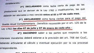 Andrade ordenó que un grupo de amparistas cobre el aguinaldo los 7 de junio y de diciembre