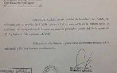 Olavarría: El Intendente Galli pidió licencia de 15 días