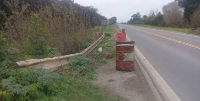 Ruta 1001: Piden precaución para circular por desmoronamiento de la baquina de un puente