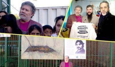 Héctor Ponce asistió a la inauguración de un mural y un poema que recuerdan al docente asesinado Carlos Fuentealba