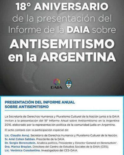 La semana que viene se presentará el 18° Informe Anual de Antisemitismo