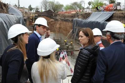 Vidal y Garro supervisaron la construcción de un canal para evitar inundaciones