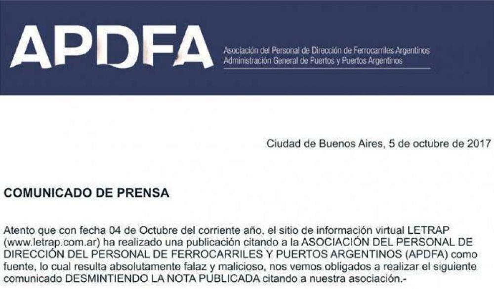 APDFA desmiente nota periodística y reclama derecho a réplica