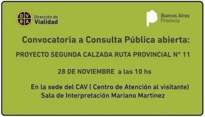 Convocatoria a consulta pública abierta: Proyecto Segunda calzada Ruta Provincial N° 11
