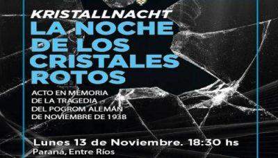 Realizarán un acto en Paraná para evocar la Noche de los Cristales Rotos