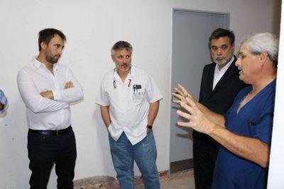 Pazos recorrió obras en el Hospital Mercante