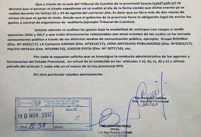 Catena solicitó se investiguen gastos de contratación del Gobierno provincial