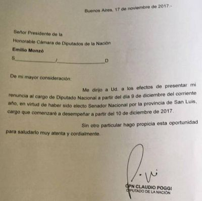 Poggi renunció a su banca de Diputado para asumir en el Senado