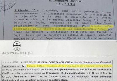 Incongruencias entre el decreto de paralización y la rezonificación de la central