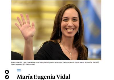 La revista Foreign Policy eligió a María Eugenia Vidal entre los 50