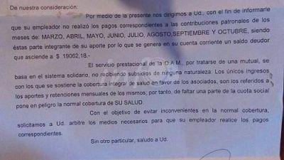 Trabajadores municipales, sin cobertura social: les llegó un aviso de deuda de 8 meses
