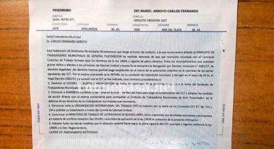 La Federación de Sindicatos Municipales intimó al intendente Arroyo