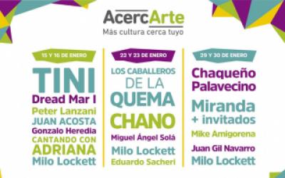 AcercArte presentó su agenda de enero en Mar del Plata con Tini, Chano, el Chaqueño y Miranda