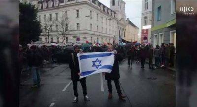 Policía de Viena multa a estudiantes judíos por ondear la bandera israelí en manifestación pro palestina