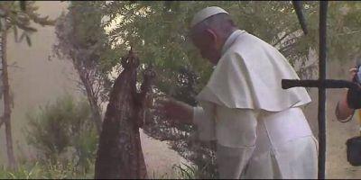 Francisco reza en la tumba de Enrique Alvear, el