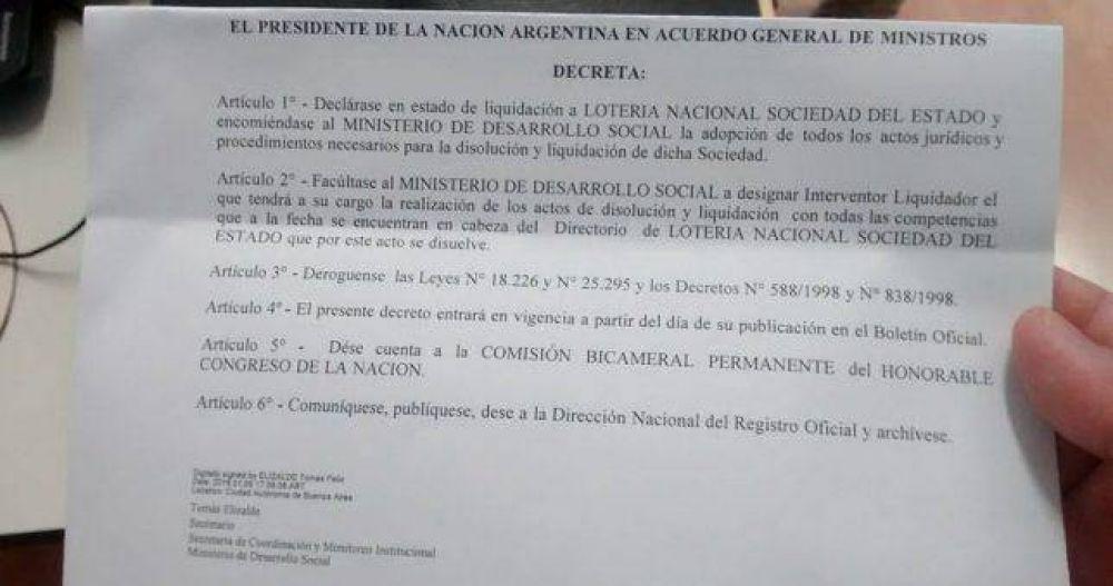 El Gobierno ordenó liquidar Lotería Nacional y peligran 200 empleos