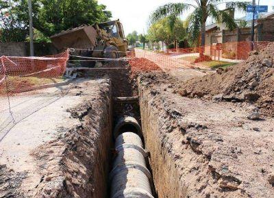 En San Andrés de Giles amplían la obra en calle Urquiza para mejorar escurrimientos