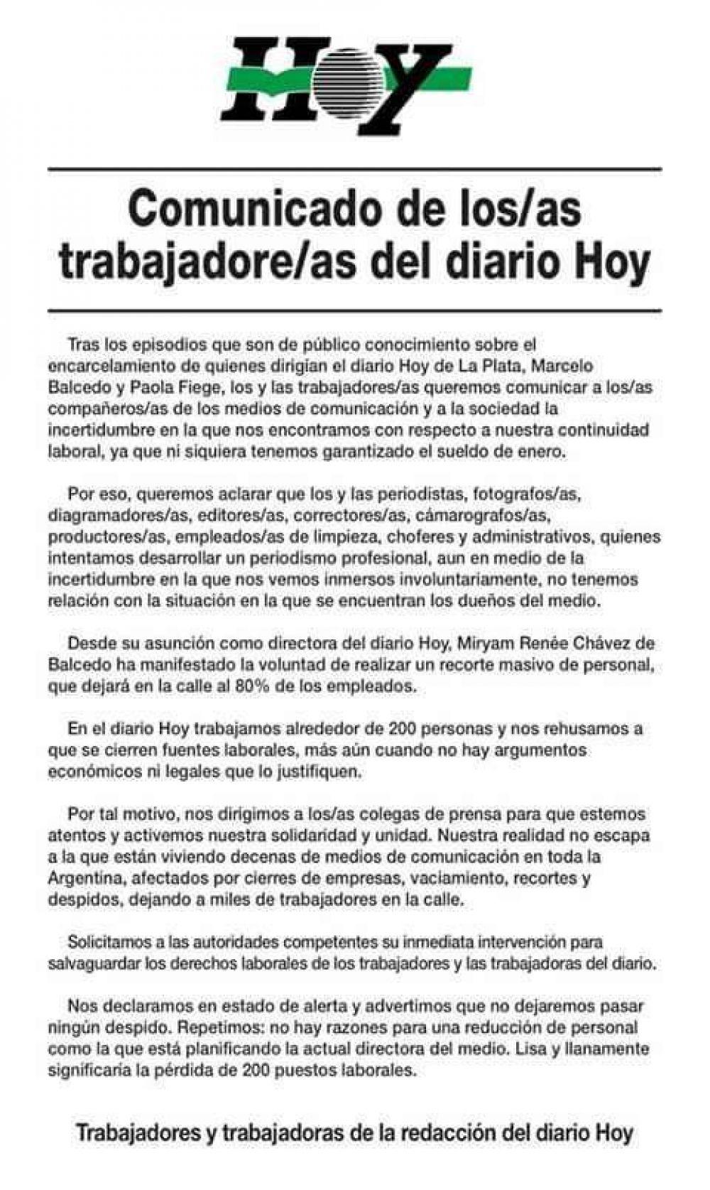 Trabajadores del diario Hoy, propiedad de Balcedo, temen por posibles despidos