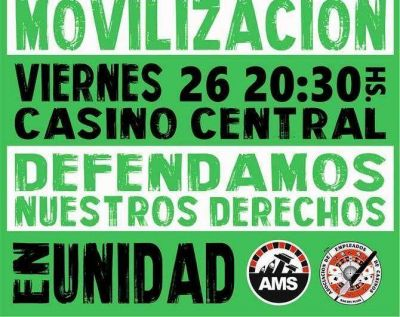 Movilizan este viernes los empleados de casino