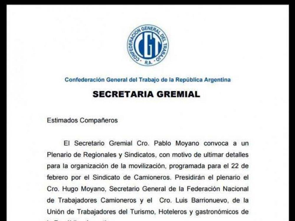 Moyano y Barrionuevo, juntos: Un documento interno confirma una movilización para el 22 de febrero