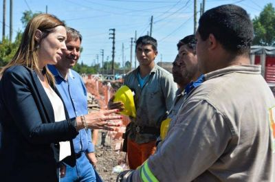 Vidal supervisó obras pluviales en un distrito peronista del Conurbano