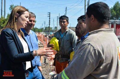 Vidal recorrió obras de desagües pluviales en Almirante Brown