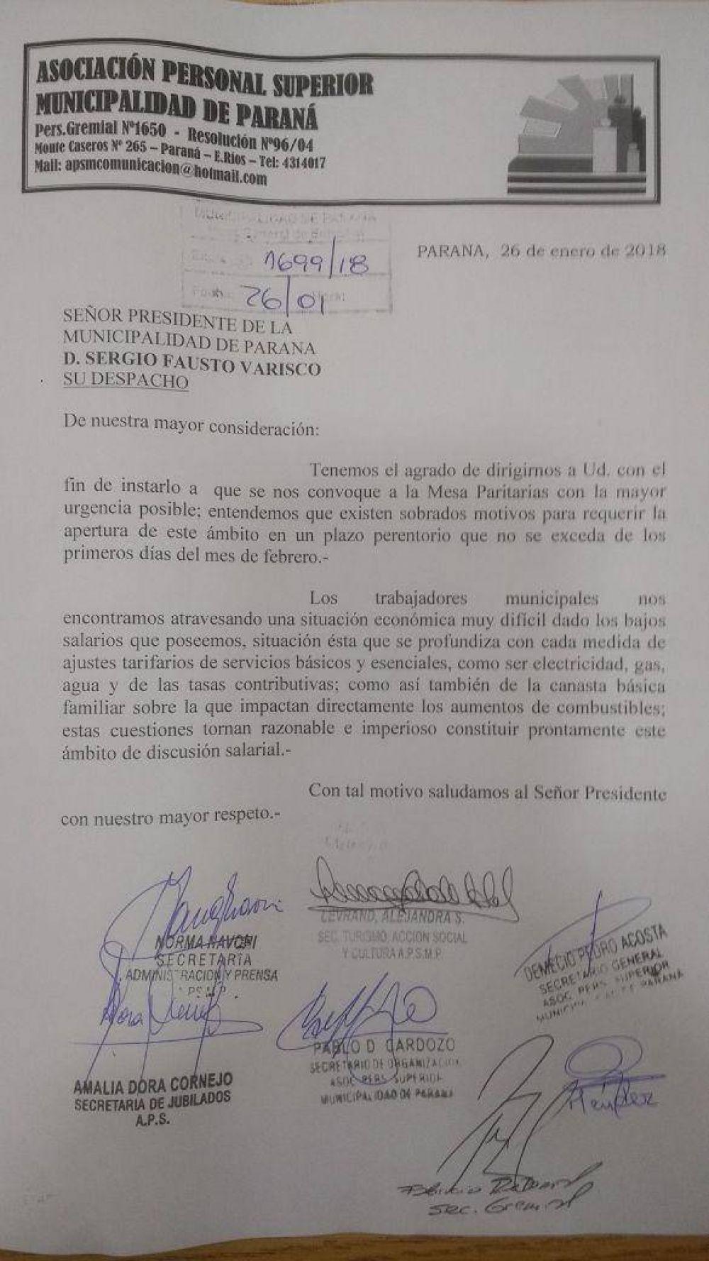 El sindicato municipal APS le pide a Varisco que convoque a paritarias