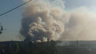 González Catán: columnas de humo en el Ceamse