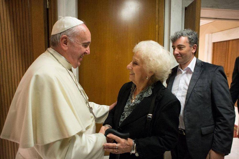 El papa Francisco recibirá a Estela de Carlotto en el Vaticano el próximo jueves