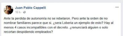Antinepotismo: ¿Juan José Fioramonti también se rebela en Lobería?
