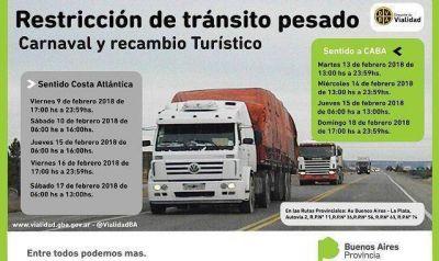 Se restringe la circulación de camiones por el feriado de carnaval y el recambio turístico
