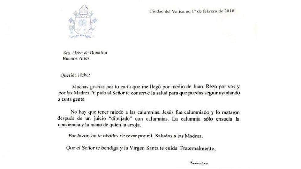 Carta del Papa para Hebe