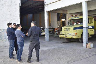 Facundo López en el cuartel de Bomberos