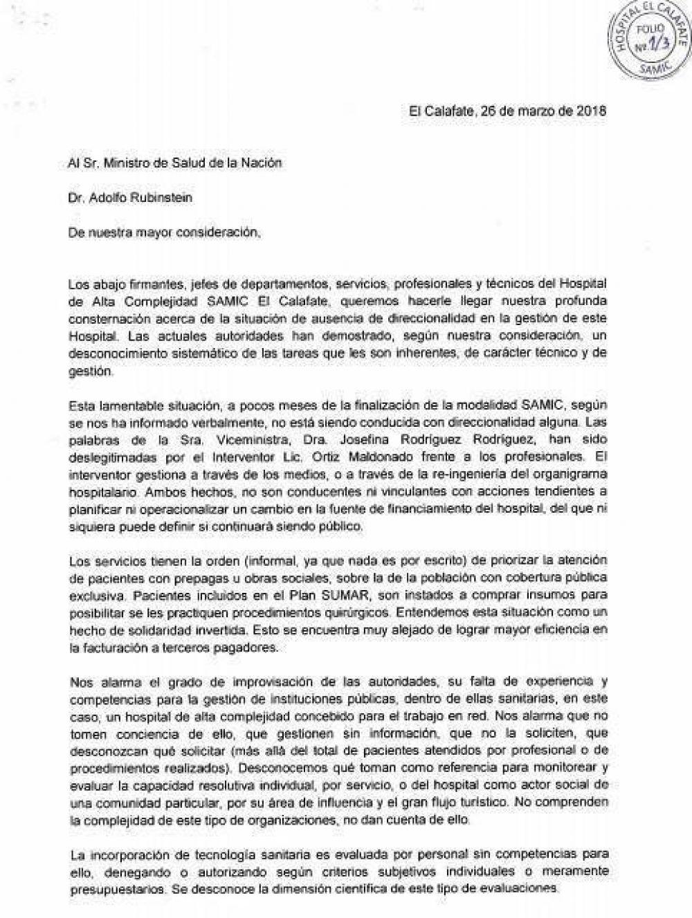 Hospitalarios se quejan ante el Ministro de Salud de Nación