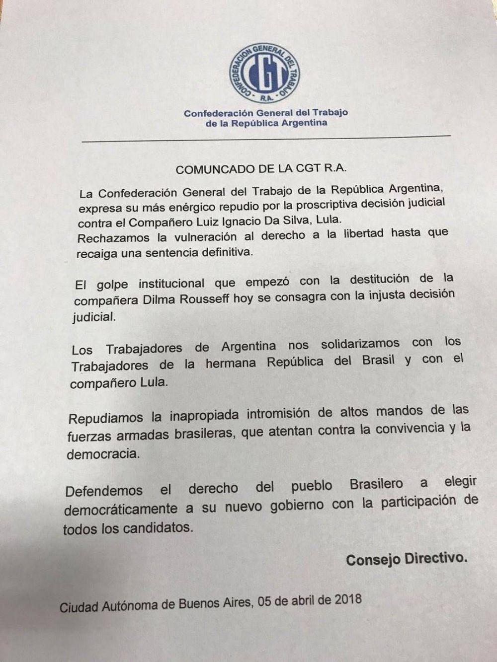 Desde la CGT apoyaron a Lula y repudiaron la decisión del Tribunal Supremo